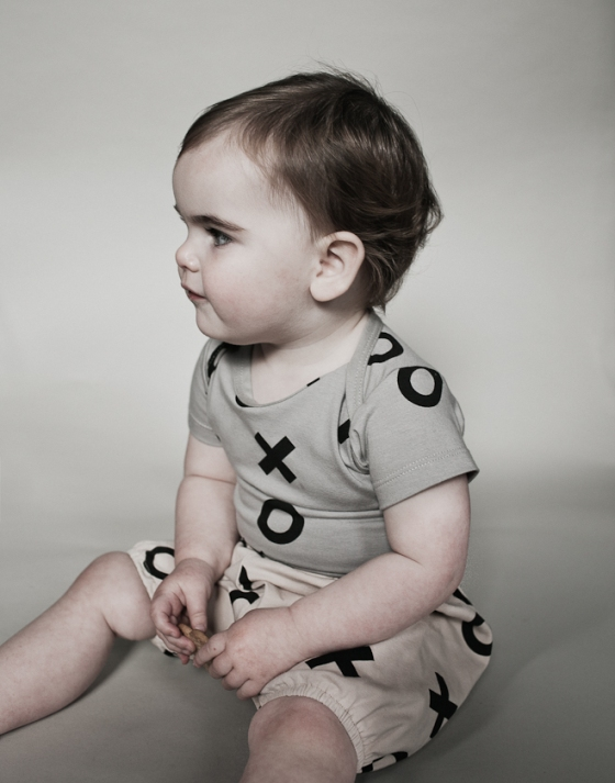 Short Sleeve Body Suit Grey XO and Bloomers Caramel XO