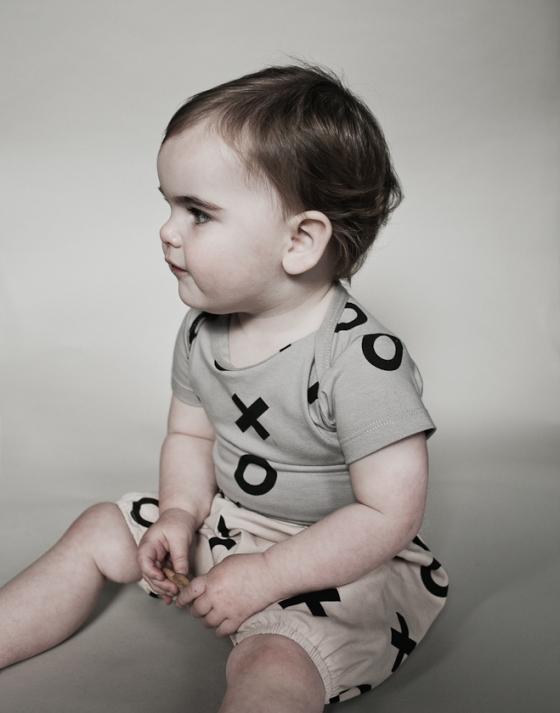 Short Sleeve Body Suit Grey XO and Bloomers Caramel XO